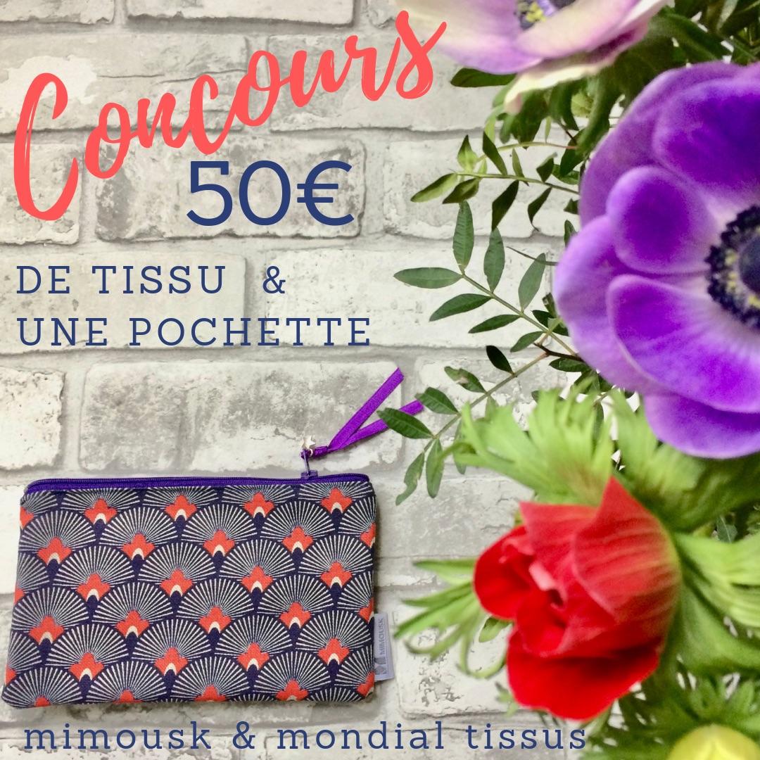 Concours ! Gagnez 50€ de tissus et une pochette Mimousk